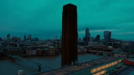 Wide panning shot of the City of London, the Thames and St Pauls Cathedral during the blue hour video