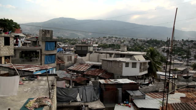 Wide panning shot over Port au Prince, Haiti. video