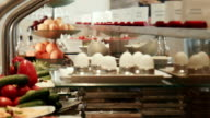 Wide selection of food on buffet breakfast in hotel video