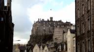 Wide shot of Edinburgh castle and skyline from the Grassmarket video