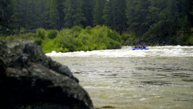 Wide shot of rafting boat video