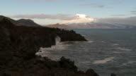 Wide shot of raw cliffs in Jan Mayen Norway video