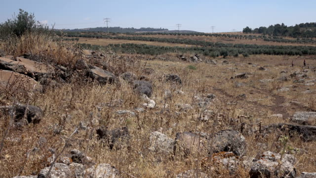 Wide View of Rubble from Ancient Roman Road in Israel video