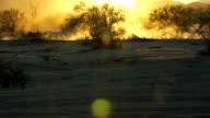 Wideshot of  motocross back lit dust video