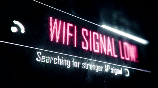 Wi-Fi signal low, searching for stronger signal screen text, system notification video