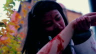 Wild monster gnawing human arm, vampire invasion, blood-chilling horror movie video