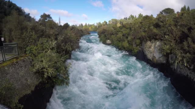 Wild rushing stream of Huka Falls Taupo New Zealand video