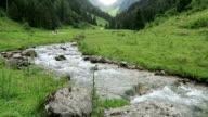 wild stream flowing through Schwarzachtal valley in Tirol /Austria. video