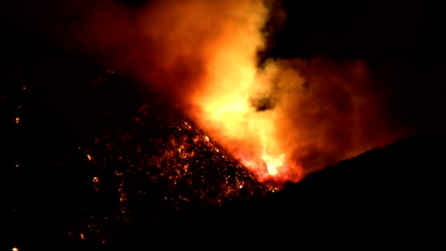 Wildfire Rages Through Canyon HD video
