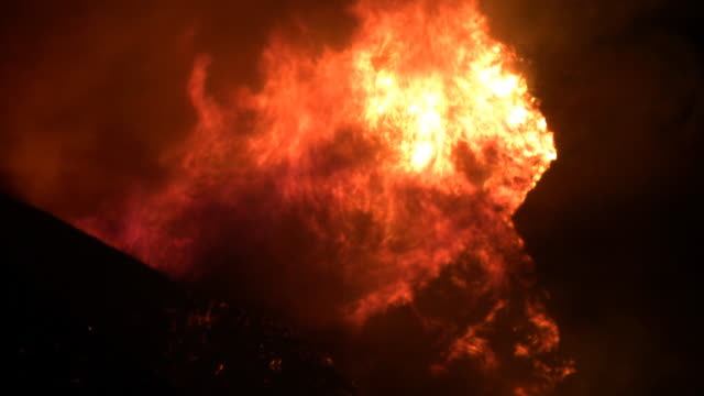 Wildfire Rages Up Mountain HD video