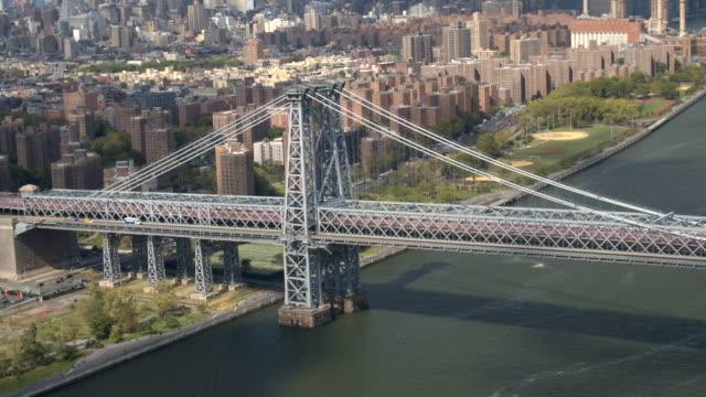 AERIAL: Williamsburg Bridge over East River and Manhattan condominium buildings video