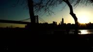 Williamsburg Bridge sunset establishing shot video