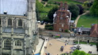 Winchester cathedral entrance - Aerial View - England,  Hampshire,  East Hampshire,  United Kingdom video