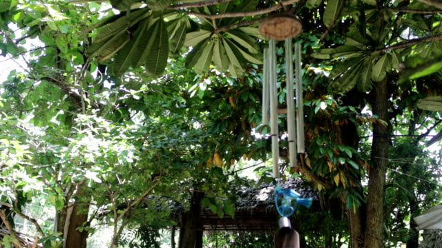 Wind bell decorated in the garden video