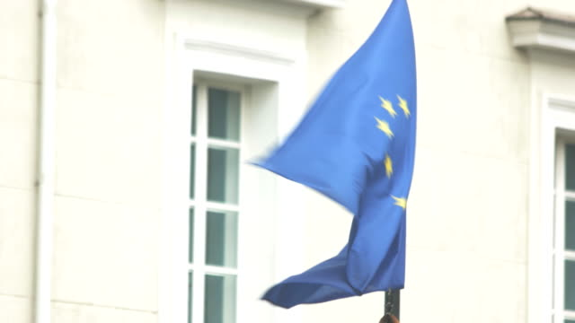 Wind blowing on EU flag. video