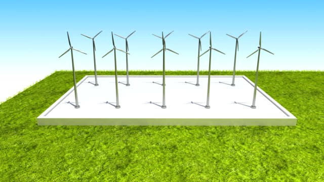 Wind energy changed power electric energy. video