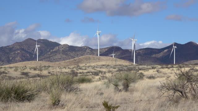Wind farm turbines Wilcox Arizona Sonoran Desert Winchester Mountains video