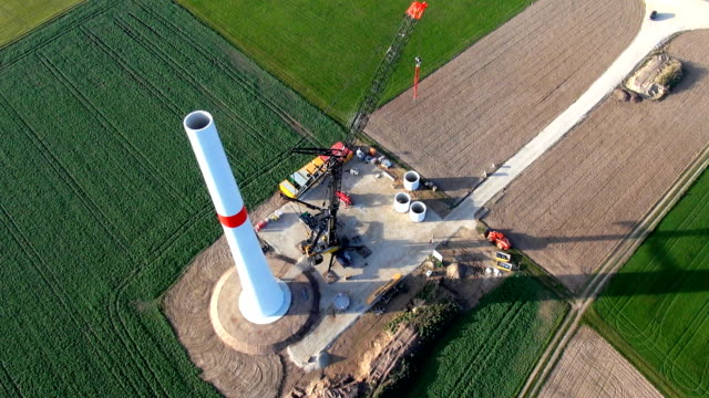 A wind generator installation site Aerial view video