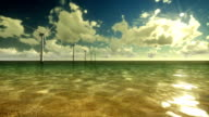 Wind Mills Off Shore and Time Lapse Clouds video