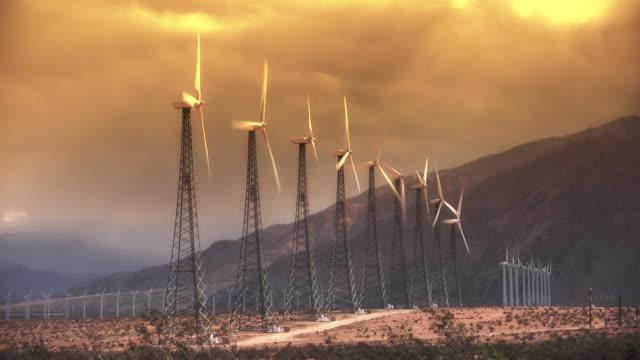 Wind Power Turbines (Sunset) video