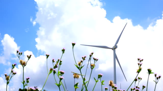 Wind turbine and cloud sky , 4K video video