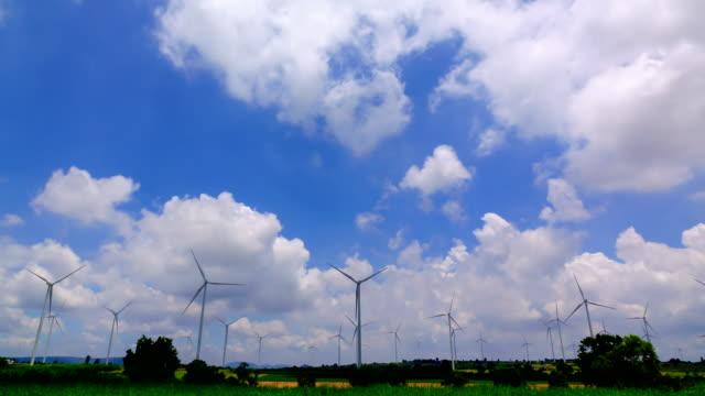 Wind turbine and cloud sky time lapse video