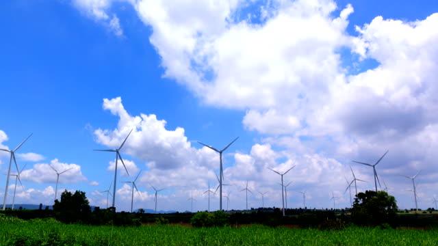Wind turbine and cloud sky video