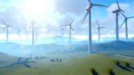 Wind turbine farm over green meadow, rays of light against cloudy sky, tilt video