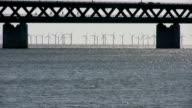 Wind turbine park in the sea near Oresund Bridge, Sweden video