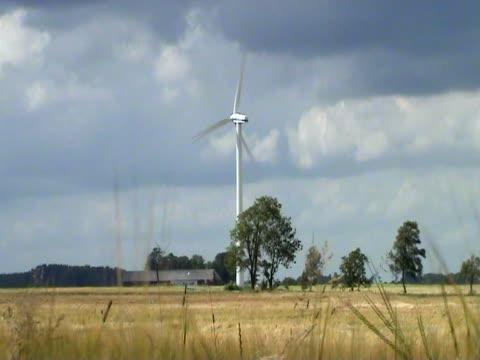 Wind turbine producing clean renewable energy video