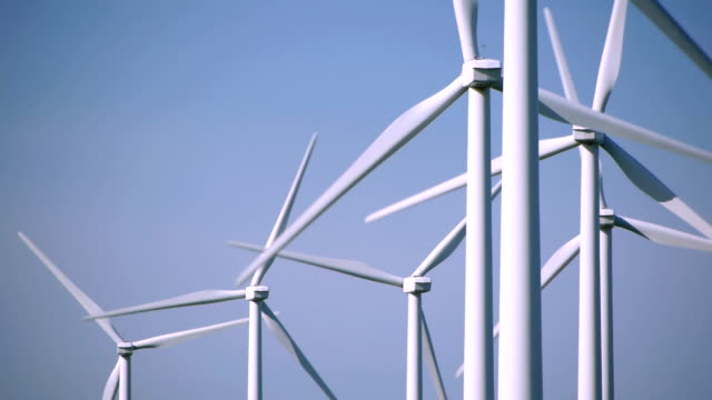 Wind Turbines against clear sky video