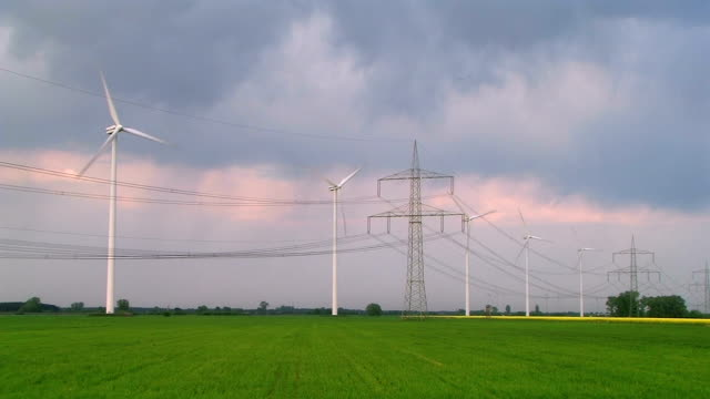 wind turbines and power lines video