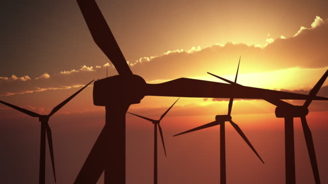 Wind Turbines at Sunset | Loopable video