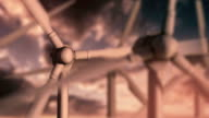 Wind Turbines at Sunset video