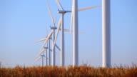 HD wind turbines in a row video