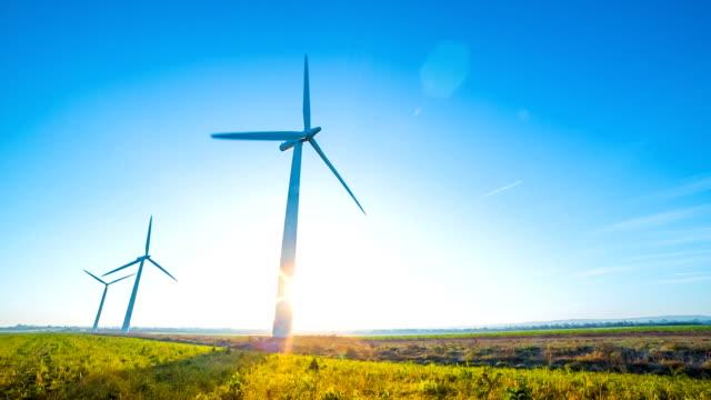 Wind turbines in field video