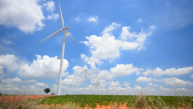Wind Turbines in Fields with Windy Sky and Cloudscape video