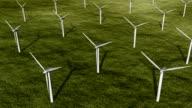 Wind turbines in meadow.  Loopable. HD1080. video