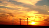 Wind Turbines Kansas Sunset video