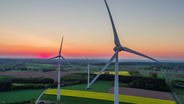 AERIAL: Wind Turbines - Landscape in Twilight video