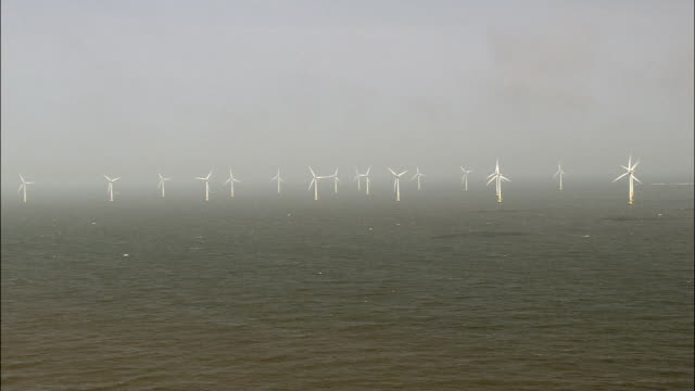 Wind Turbines Off Great Yarmouth  - Aerial View - England, Norfolk, United Kingdom video