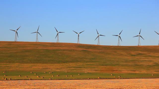 Wind Turbines on hilltop video