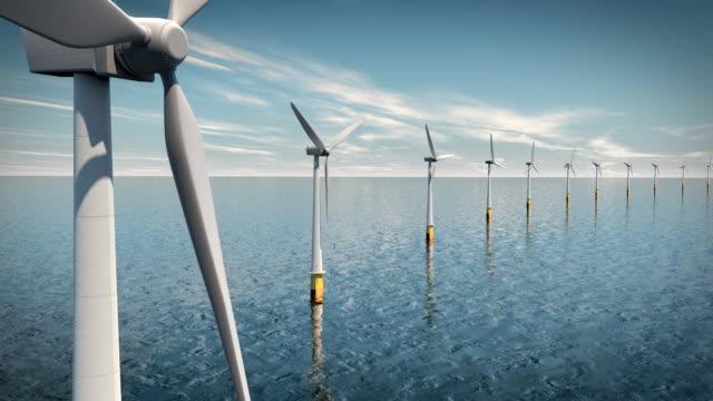 Wind Turbines on the Ocean video