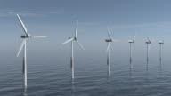 Wind turbines on the sea video