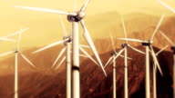Wind Turbines: Slow Pass at Sunset video