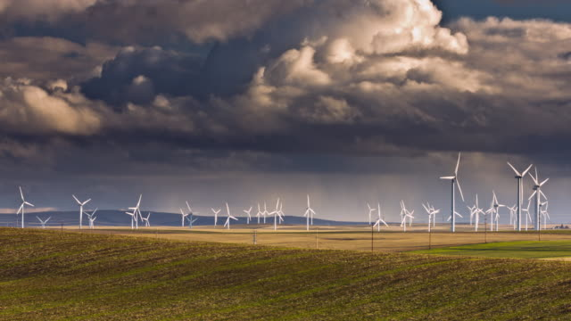 Wind Turbines with storm clouds video