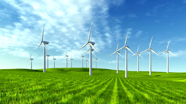 Windfarm on the green hills video