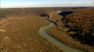 Winding River In Letchworth State Park - Aerial View - New York,  Wyoming County,  United States video