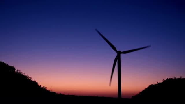 windmill in twilight video