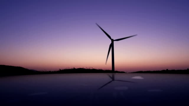 windmill in twilight with reflection video